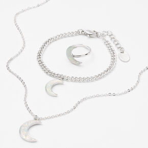 Silver Crescent Moon Jewellery Gift Set - 3 Pack,