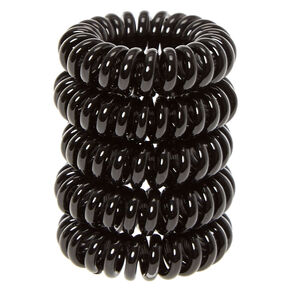 Mini Spiral Hair Bobbles - Black, 5 Pack,