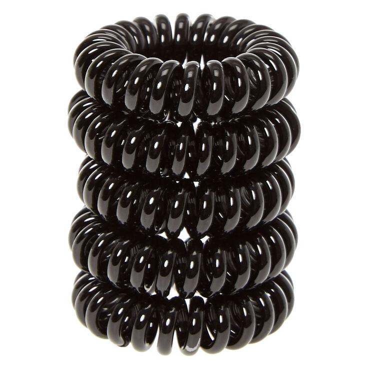 Mini élastiques à cheveux spirales - Noir, lot de 5,