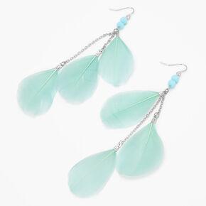 Pendantes linéaires à plumes perlées 10cm couleur argentée - Vert menthe,