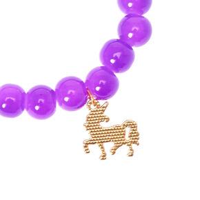 Bracelet élastique à perle d'imitation pourpre avec breloque licorne,