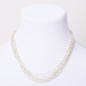 Silver Twisted Rope Chain Multi Strand Necklace,