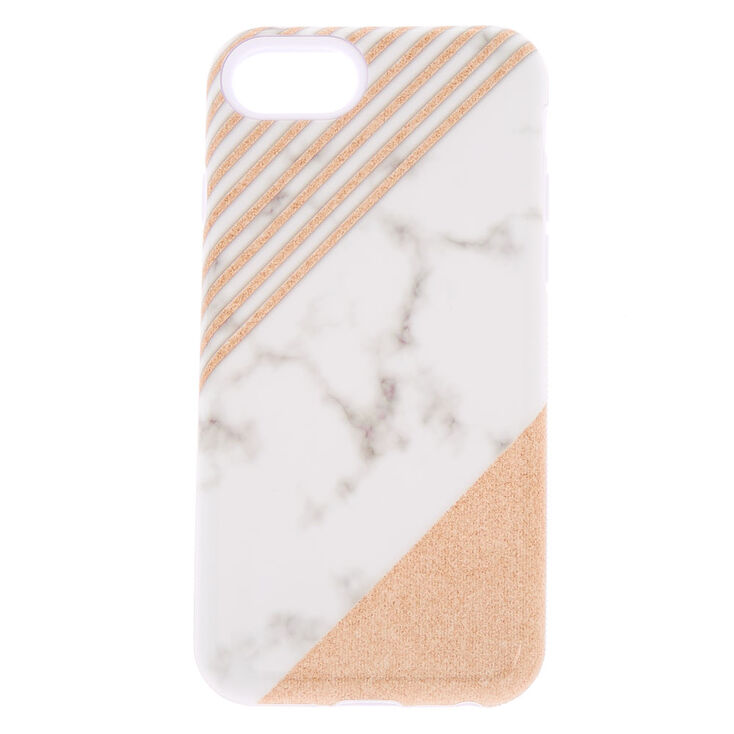 online retailer 12fbb ed5c7 Striped Glitter Marble Protective Phone Case - Fits iPhone 6/7/8