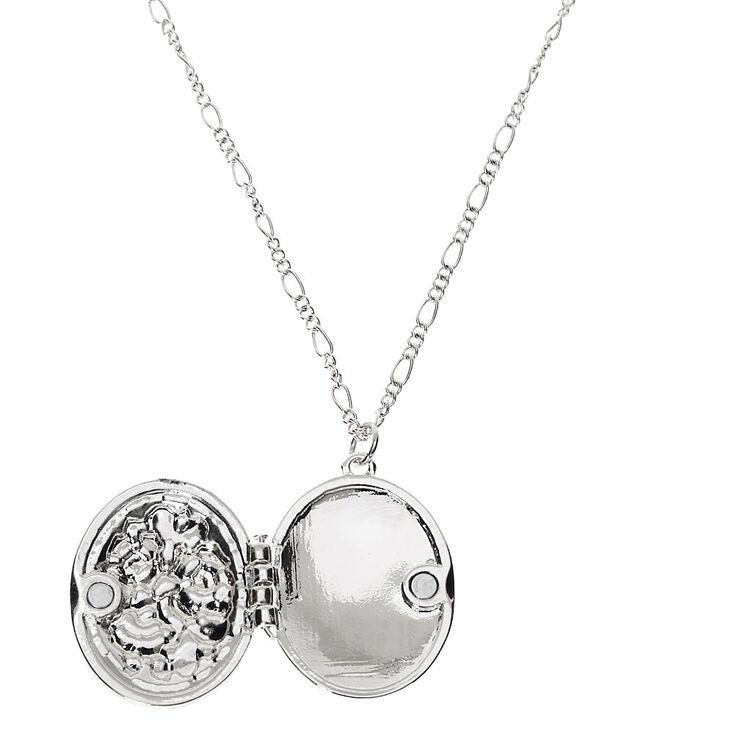 Silver Floral Locket Long Pendant Necklace,