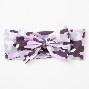 Claire's Club Camo Print Bow Headwrap - Purple,