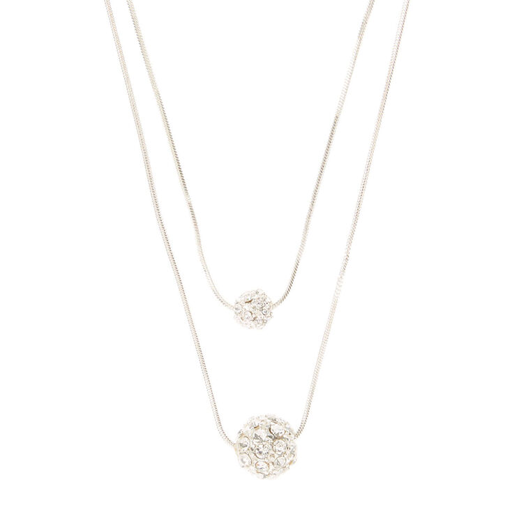 707f7ccce69ce Double Chain Silver Fireball Ball Necklace