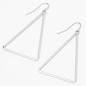 Silver Triangle Outline Drop Earrings,