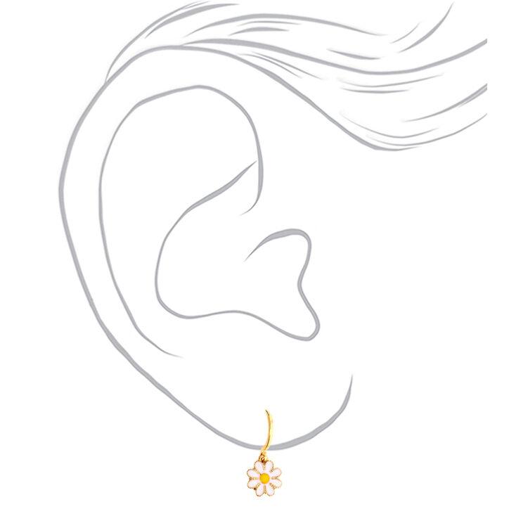 Gold 10MM Daisy Huggie Hoop Earrings,