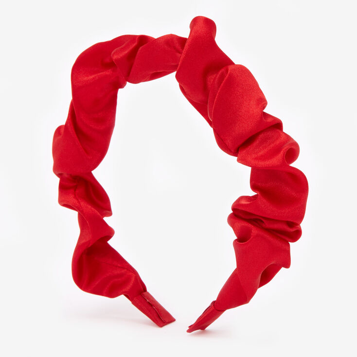 Claire's Club Ruched Holiday Headband - Red,