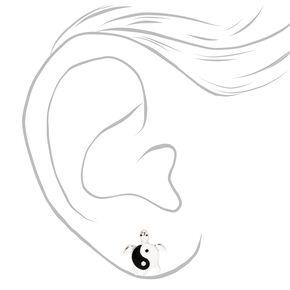 Silver Turtle Yin Yang Stud Earrings,