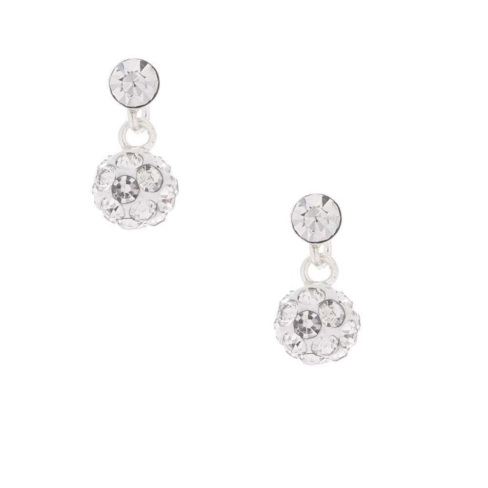 Claires Girls Sterling Silver Fireball Drop Earrings