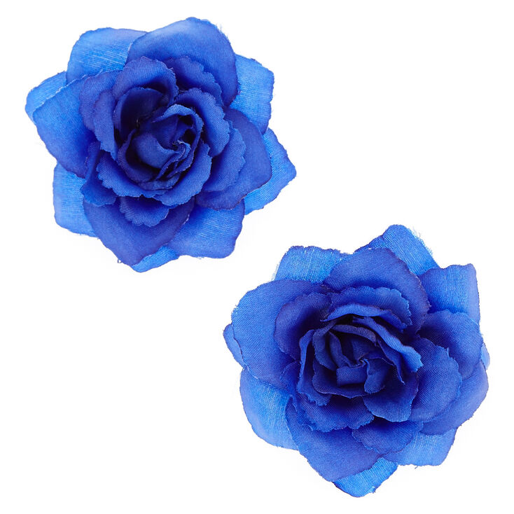 Rose Flower Hair Clips Navy Blue