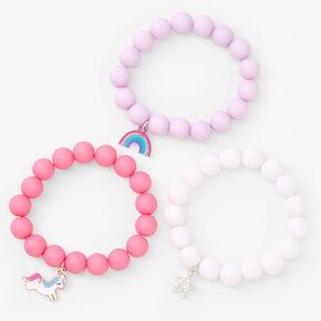 Claire's Club Pastel Matte Beaded Stretch Bracelets - 3 Pack,
