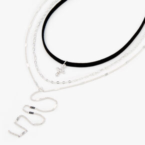 Silver Cross Cord Choker Multi Strand Necklace - Black,