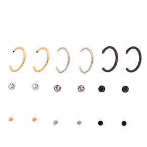 Mixed Metal Classic Stud & Mini Hoop Earrings - 9 Pack,