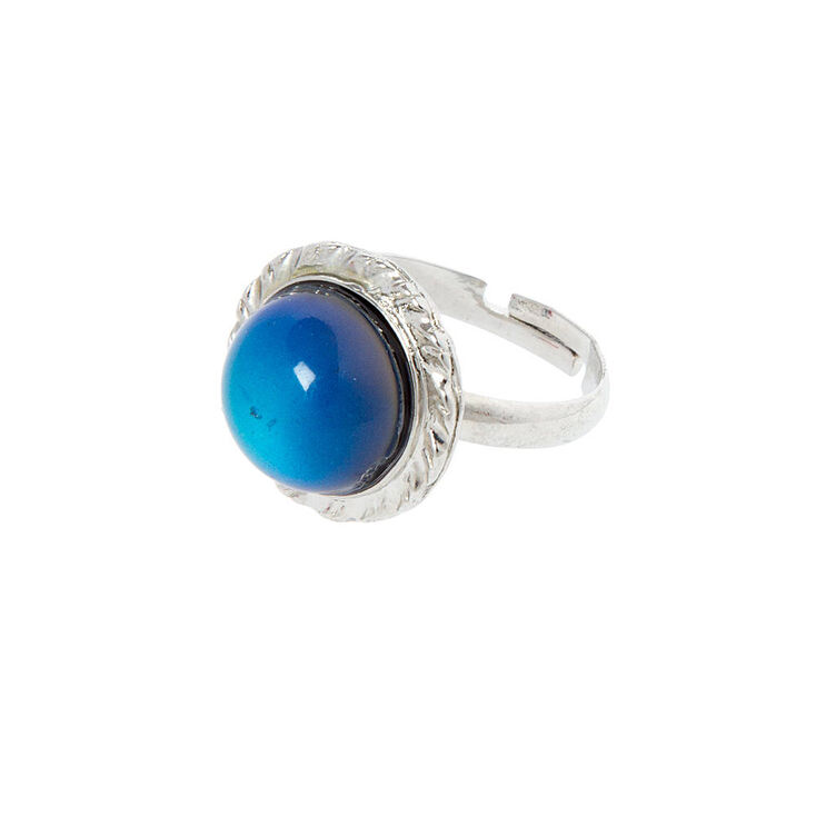 Silver Round Stone Mood Ring,