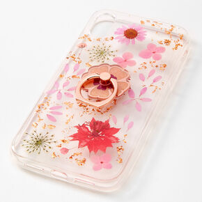 Rose Gold Key Ring Floral Phone Case - Fits iPhone XR,