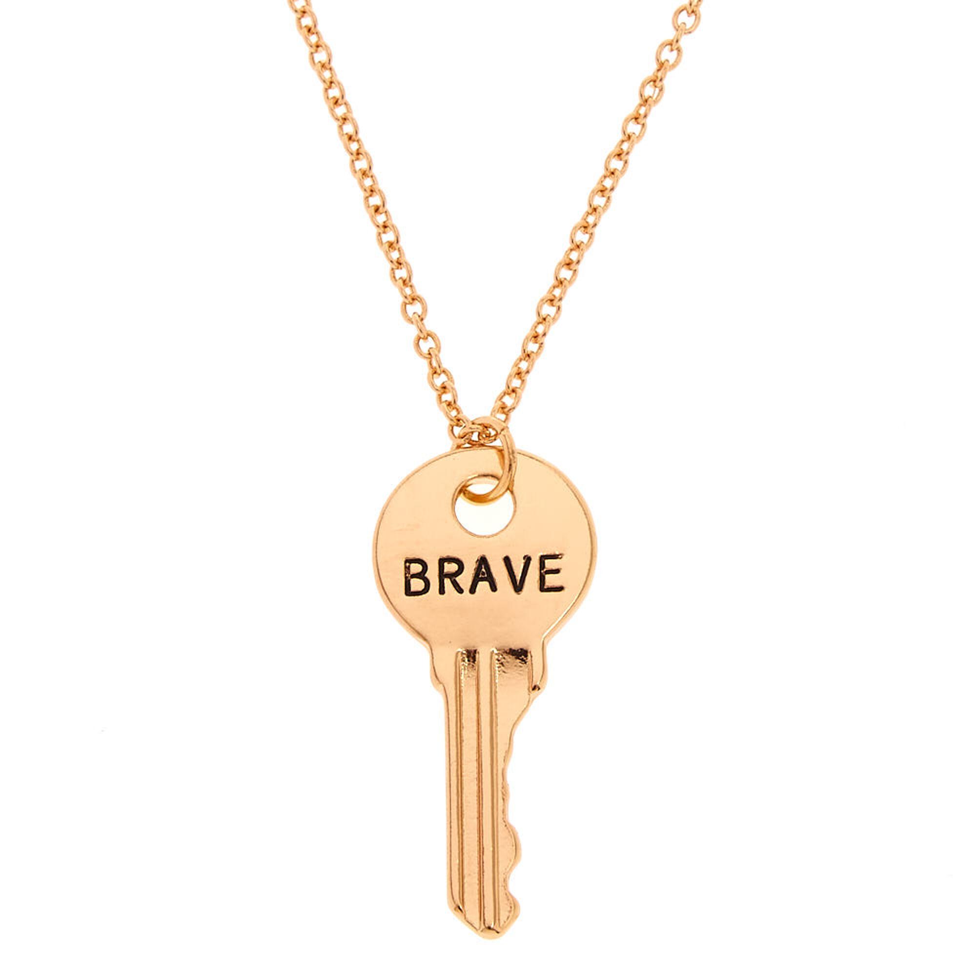 Gold tone brave key pendant necklace claires us gold tone brave key pendant necklace mozeypictures Choice Image