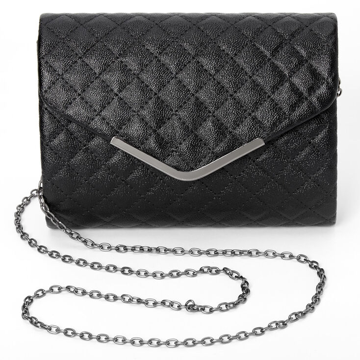 Quilted Envelope Clutch Bag - Black,