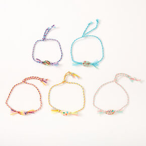 Painted Cowrie Shell Adjustable Braided Bracelets - 5 Pack,