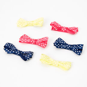 Claire's Club Polka Dot Ribbon Hair Bow Clips - 6 Pack,