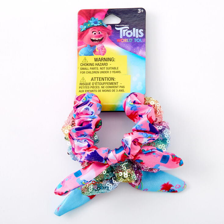 Trolls World Tour Knotted Bow Hair Scrunchies - 3 Pack,