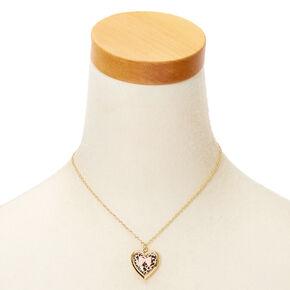 Claire's Club Gold Leopard Print Locket Necklace,