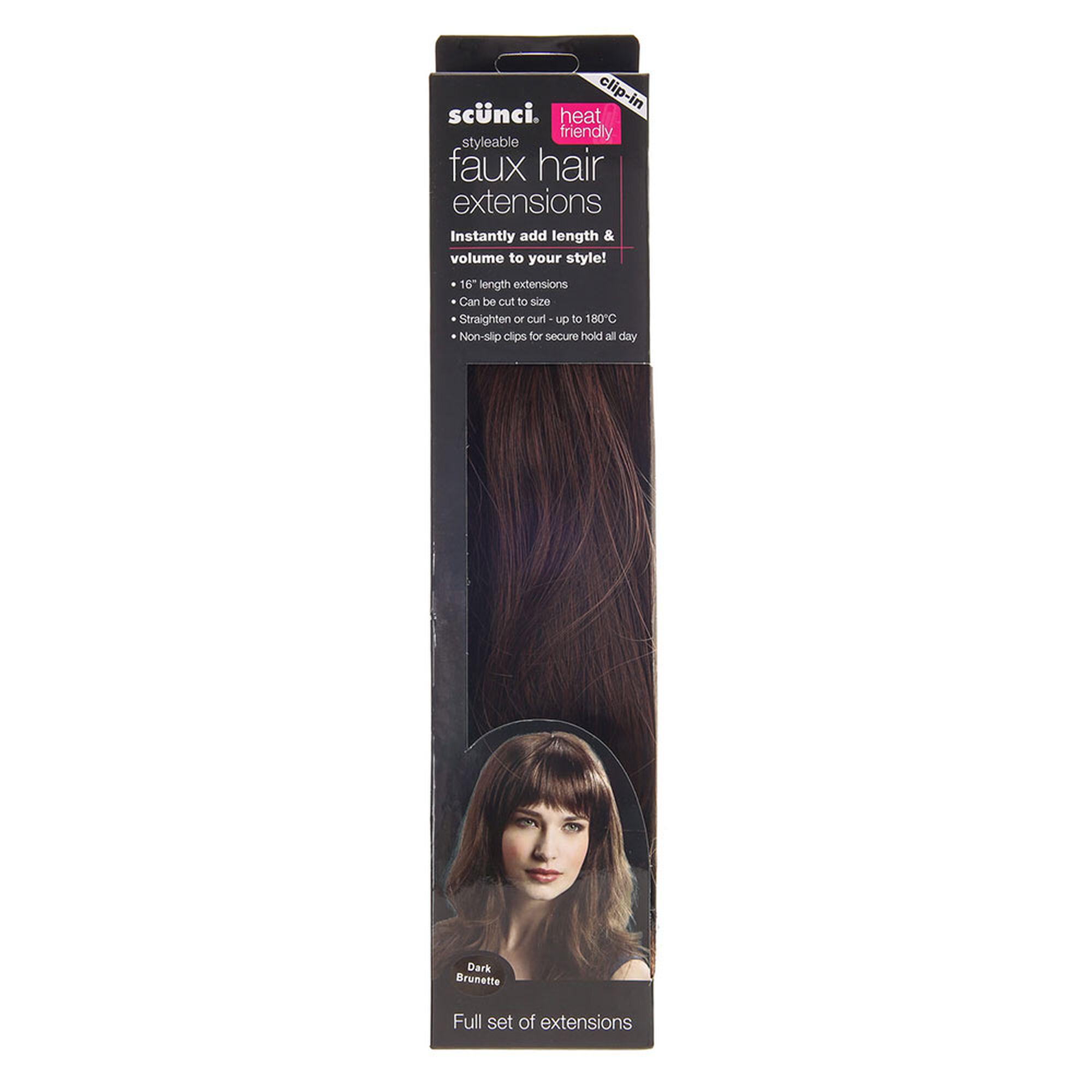 Scunci Dark Brown Faux Hair Extensions Claires