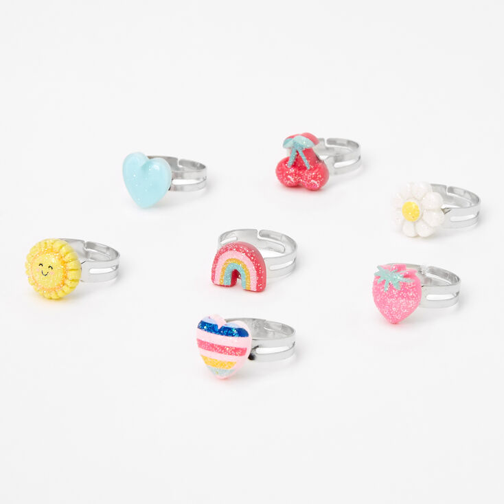 Claire's Club Spring Daisy Box Rings - 7 Pack,