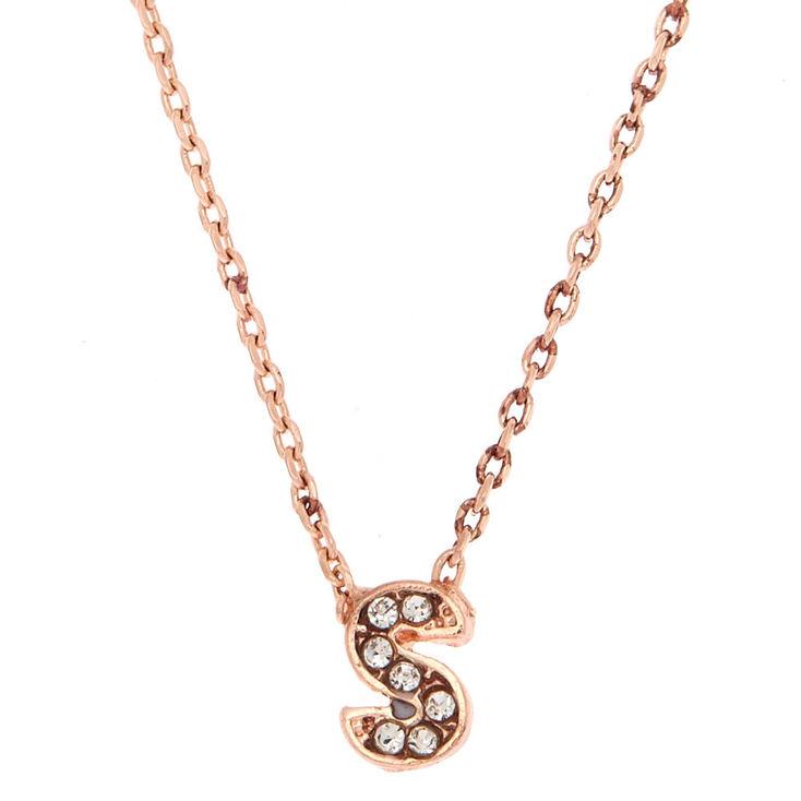 Rose Gold Embellished Initial Pendant Necklace - S,