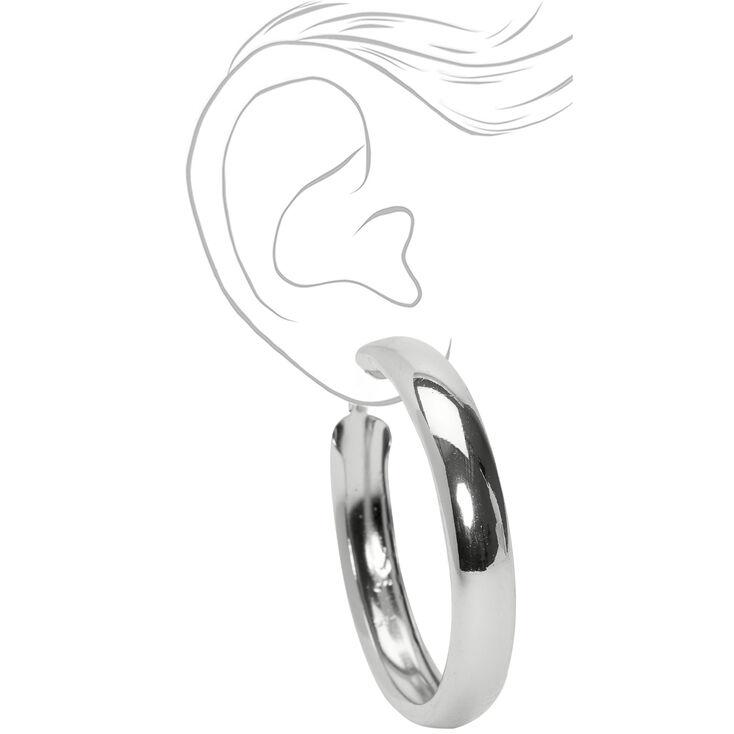 Silver 50MM Tube Hoop Earrings,