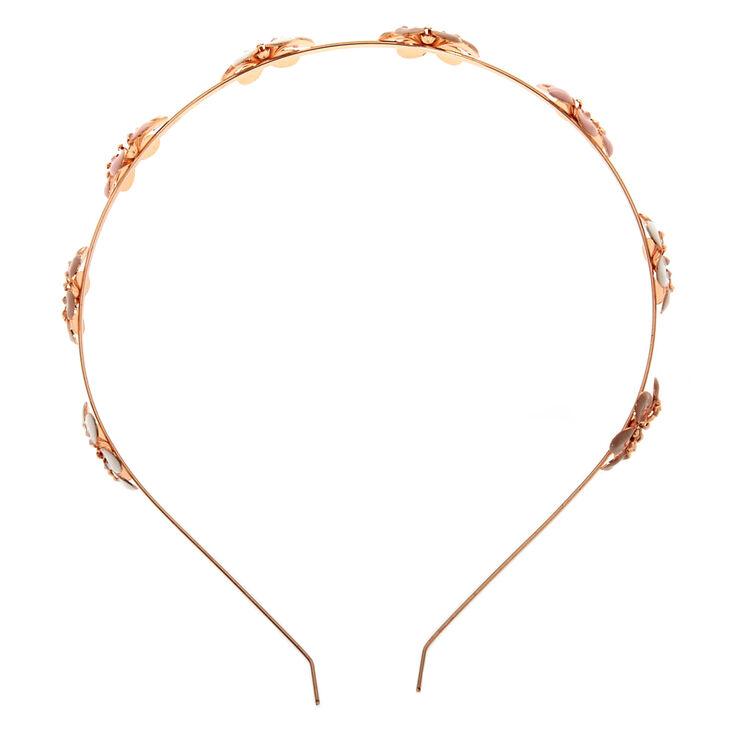 Rose Gold Blush Flowers Headband,
