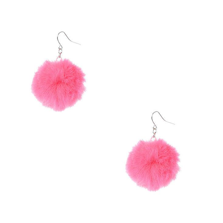 f266a9de88c2f7 Pink Pom Pom Drop Earrings   Claire's