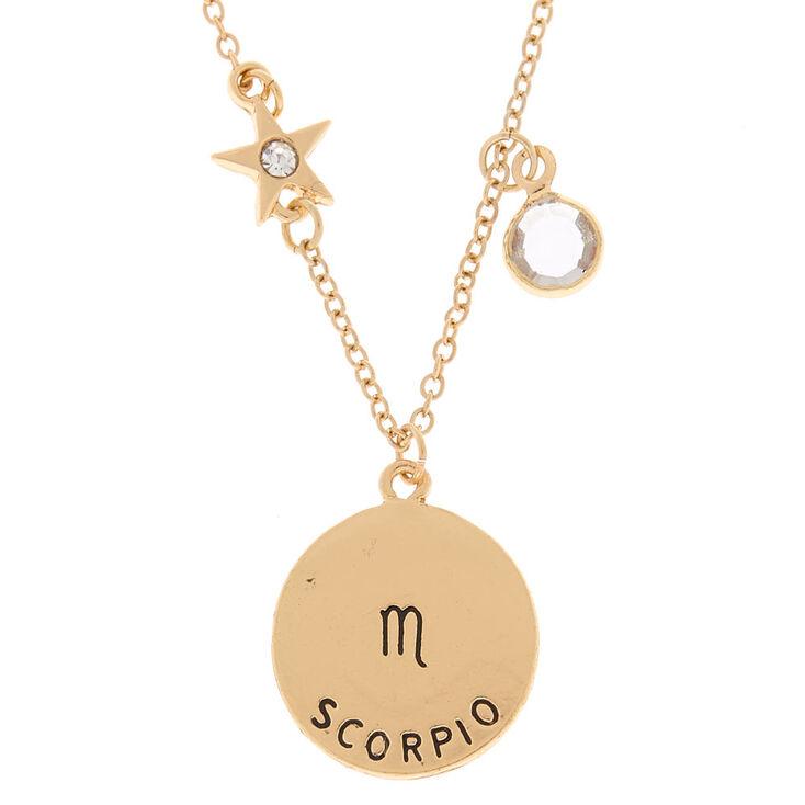 Gold zodiac pendant necklace scorpio claires gold zodiac pendant necklace scorpio mozeypictures Gallery