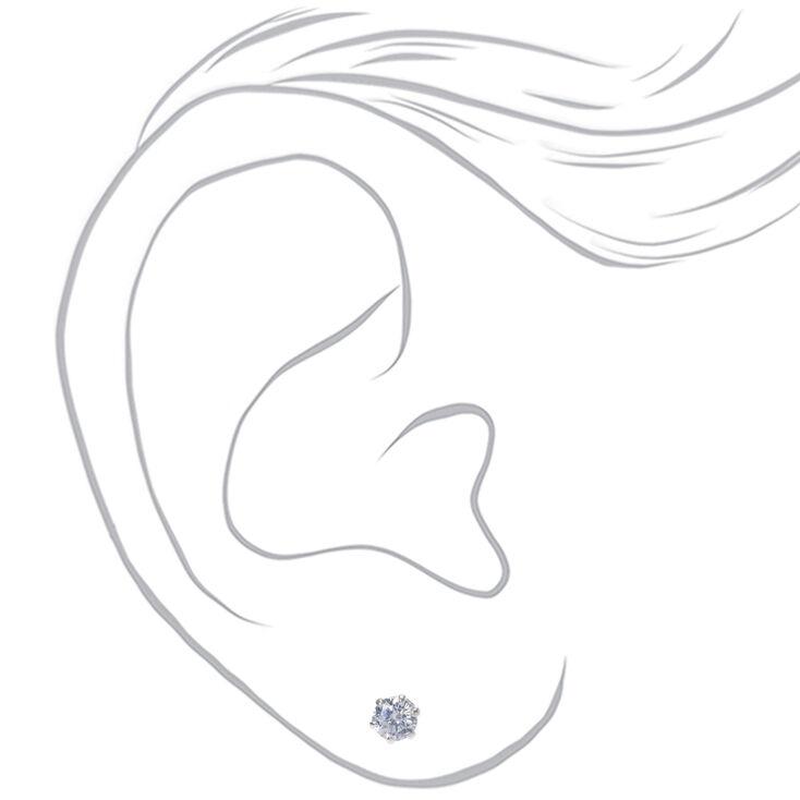 Sterling Silver Cubic Zirconia Round Stud Earrings - 4MM,