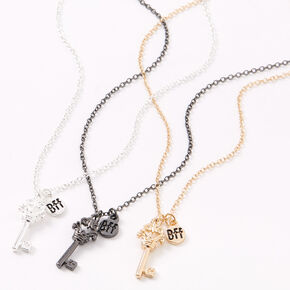 Mixed Metal Best Friends Crown Key Pendant Necklaces - 3 Pack,