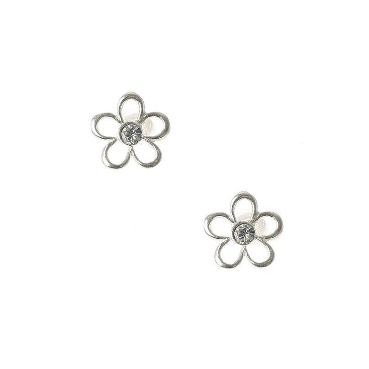 Sterling Silver Open Flower Stud Earrings,