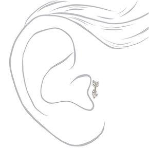 Silver 16G Cubic Zirconia Arrow Tragus Stud Earring,