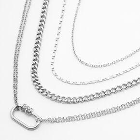 Silver Multi Strand Carabiner Pendant Necklace,