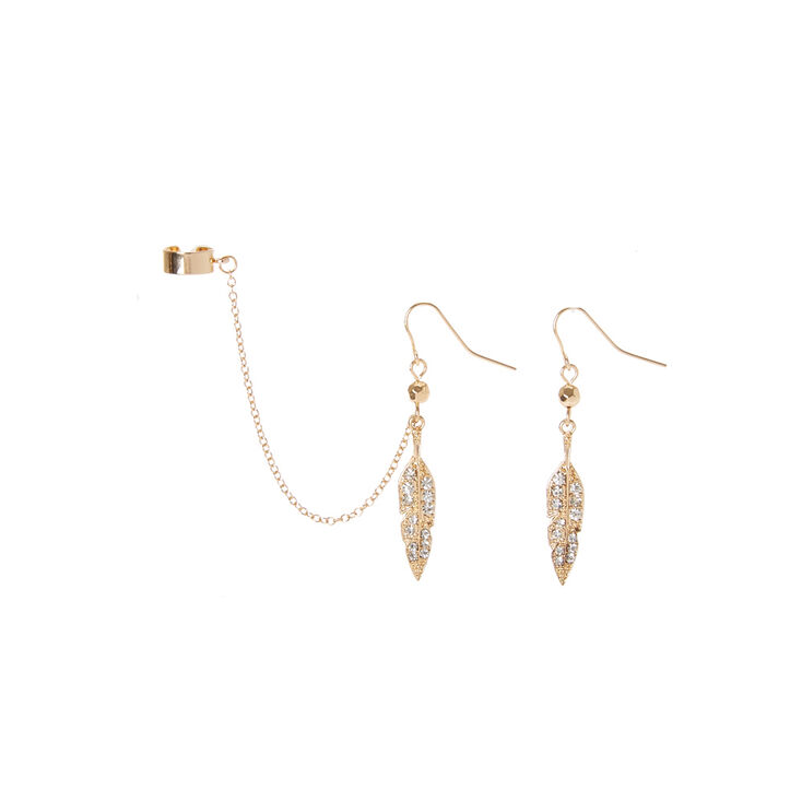 Gold Leaf Drop Earrings And Ear Cuff