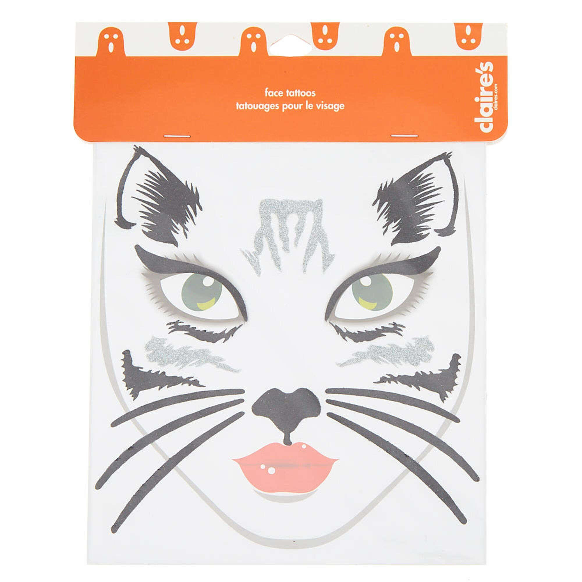 cat face tattoos - black, 18 pack | claire's