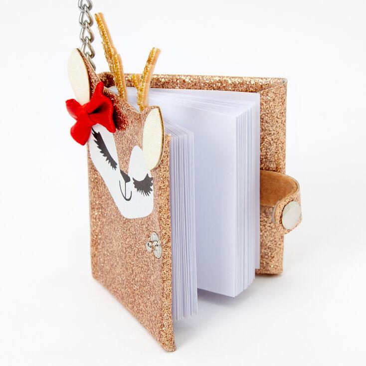 Noelle the Deer Mini Diary Keychain - Gold,