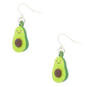 """Silver 1"""" Squish Avocado Drop Earrings - Green,"""