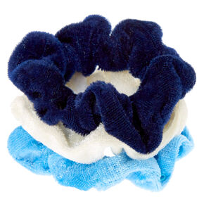 Claire's Club Small Velvet Hair Scrunchies - Blue, 3 Pack,