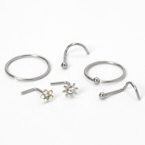 Silver 20G Flower Starburst Mixed Nose Rings - 6 Pack,