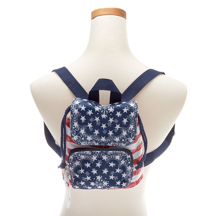 NWT Claire's GIRLS AMERICAN FLAG FLIP SEQUIN MINI BACKPACK Purse Tote Patriotic