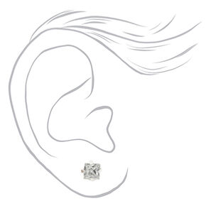 Silver Graduated Crystal Ball Magnetic Stud Earrings - 9 Pack,