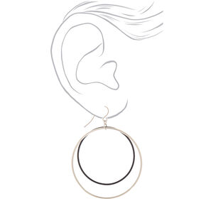"Silver 2"" Double Loop Drop Earrings - Black,"