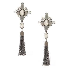 """Hematite 3"""" Velvet Glam Fringe Drop Earrings,"""