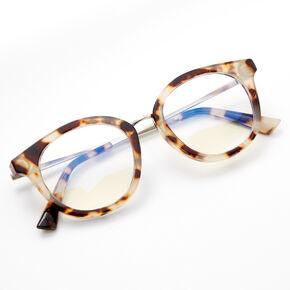 Blue Light Reducing Round Tortoiseshell Clear Lens Frames - Ivory,